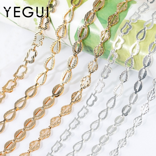 YEGUI C186,diy chain,18k gold plated,0.3microns,copper metal,rhodium plated,charms,diy bracelet necklace,jewelry making,1m/lot