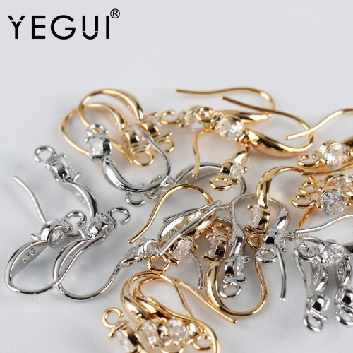 YEGUI M926,jewelry accessories,18k gold plated,copper metal,rhodium plated,zircon,charm,diy earring,jewelry making,20pcs/lot