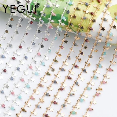 YEGUI C180,diy chain,18k gold plated,0.3microns,copper metal,beads,hand made,charms,jewelry making,diy bracelet necklace,1m/lot