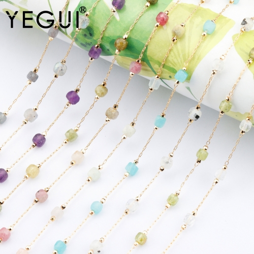 YEGUI C183,diy chain,18k gold plated,0.3microns,copper metal,natural stone,charms,jewelry making,diy bracelet necklace,1m/lot
