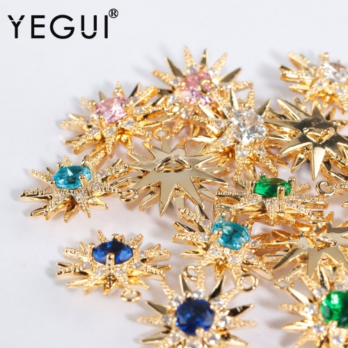 YEGUI M934,jewelry accessories,18k gold plated,zircon,copper metal,hand made,charms,diy earrings,jewelry making,10pcs/lot