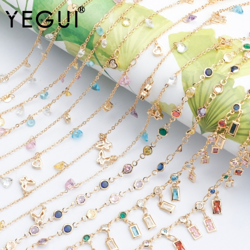 YEGUI C83,jewelry accessories,diy chain,18k gold plated,0.3 microns,zircon,hand made,jewelry making,diy bracelet necklace,1m/lot