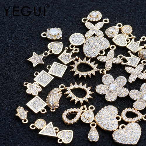 YEGUI M907,jewelry accessories,18k gold plated,zircon,copper metal,hand made,charms,earring pendants,jewelry making,20pcs/lot