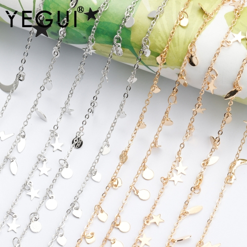 YEGUI C181,diy chain,18k gold plated,0.3microns,copper metal,rhodium plated,charms,diy bracelet necklace,jewelry making,1m/lot