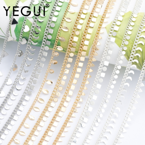 YEGUI C176,diy chain,18k gold plated,copper metal,rhodium plated,thick silver,charms,diy bracelet necklace,jewelry making,1m/lot
