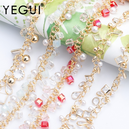 YEGUI C136,jewelry accessories,diy chain,18k gold plated,0.3 microns,plastic pearl,hand made,diy bracelet necklace,50cm/lot