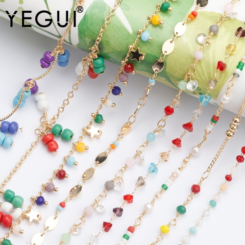 YEGUI C134,jewelry accessories,beads zircon chain,18k gold plated,0.3 microns,diy bracelet necklace,bohemian style,1m/lot