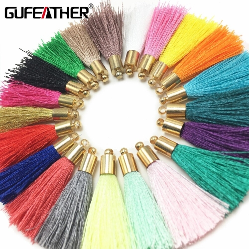 GUFEATHER L32/4cm/Tassel/Golden hat silk tassel/jewelry accessories/accessories parts/jewelry findings 10pcs/bag
