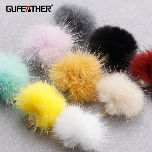 GUFEATHER M833,jewelry accessories,real fur mink,fluffy ball,hand made,charms,diy earrings pendant,jewelry making,6pcs/lot
