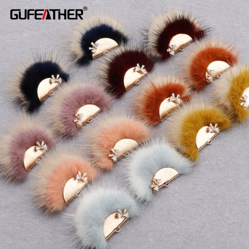 GUFEATHER M863,jewelry accessories,zircon,copper metal,hand made,real fur mink,fluffy ball,diy earings,jewelry making,6pcs/lot