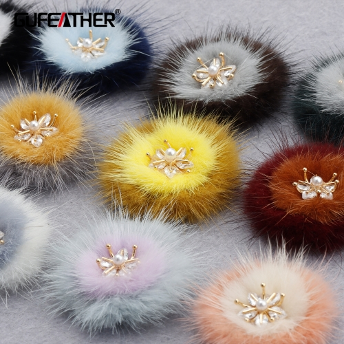 GUFEATHER M860,jewelry accessories,18k gold plated,zircon,handmade,real fur mink,fluffy ball,diy earings,jewelry making,4pcs/lot