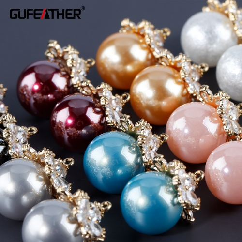 GUFEATHER M935,jewelry accessories,18k gold plated,zircon,plastic pearl,charms,hand made,diy earrings,jewelry making,6pcs/lot