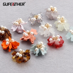 GUFEATHER M891,jewelry accessories,flower shape,copper metal,plastic pearl,resin,hand made,diy earrings,jewelry making,6pcs/lot