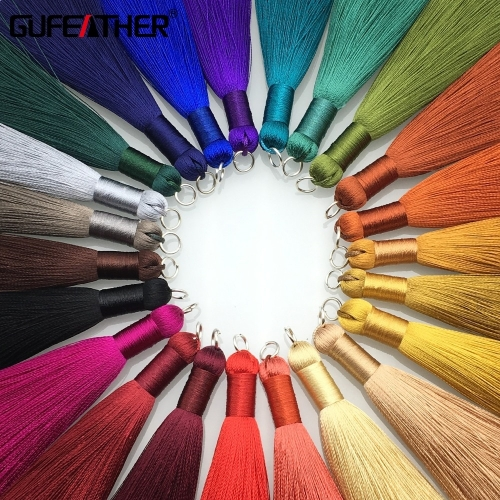 GUFEATHER L62/8cm/Silk Tassel/jewelry accessories/accessories parts/jewelry findings/embellishments/diy accessories/hand made,2pcs/lot