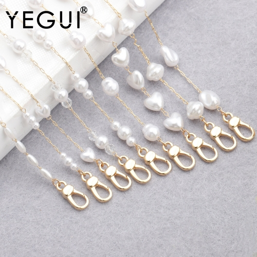 YEGUI M836,eyeglass strap chain,jewelry accessories,18k gold plated,0.3 microns,hand made,plastic pearl,mask chain,74cm/pcs