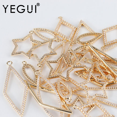 YEGUI M937,jewelry accessories,18k gold plated,zircon,copper metal,hand made,charms,jewelry making,diy earrings,6pcs/lot