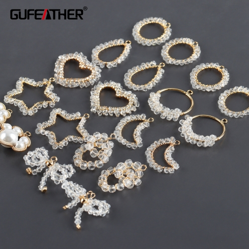GUFEATHER M977,jewelry accessories,zircon,18k gold plated,copper metal,jump rings,hand made,diy earrings,jewelry making,6pcs/lot