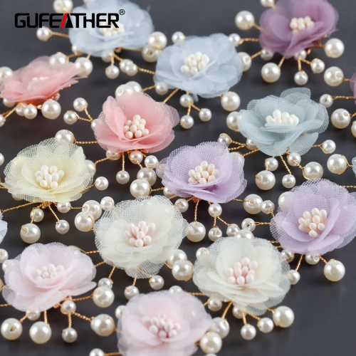 GUFEATHER M980,jewelry accessories,18k gold plated,plastic pearl,flower shape,hand made,diy earrings,jewelry making,10pcs/lot