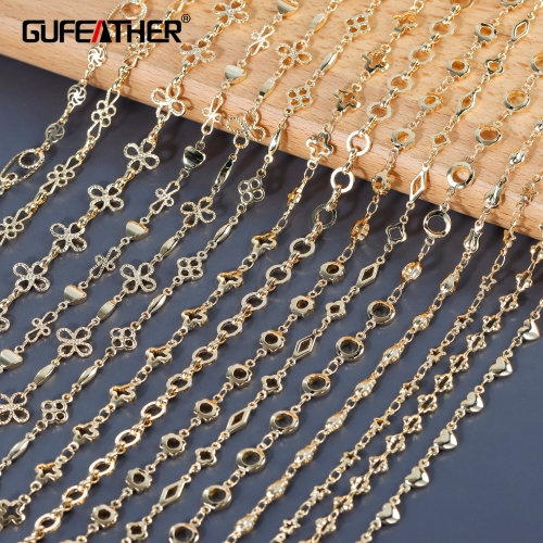 GUFEATHER C164,diy chain,18k gold plated,copper metal,jewelry findings,hand made,jewelry making,diy bracelet necklace,1m/lot