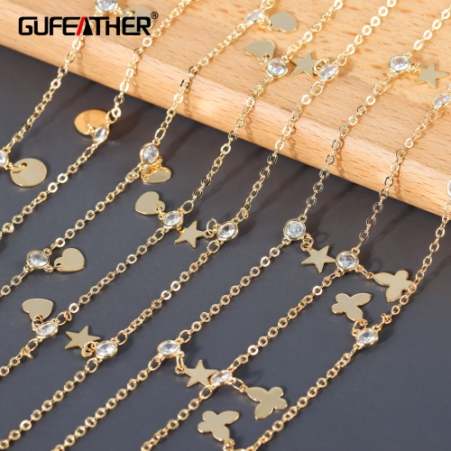 GUFEATHER C208,diy chain,18k gold plated,copper metal,zircon,charms,hand made chain,diy bracelet necklace,jewelry making,1m/lot