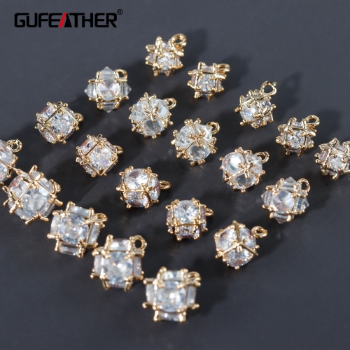 GUFEATHER M978,jewelry accessories,18k gold plated,copper metal,zircons,charms,hand made,jewelry making,diy earrings,10pcs/lot