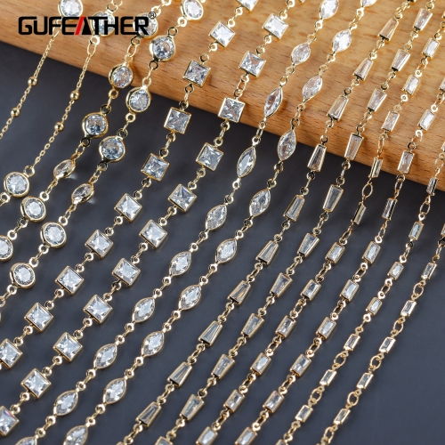 GUFEATHER C209,diy chain,18k gold plated,copper metal,zircon,charms,hand made chain,diy bracelet necklace,jewelry making,1m/lot
