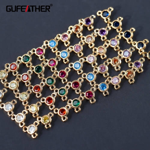 GUFEATHER M973,jewelry accessories,zircon,18k gold plated,copper metal,hand made,jump rings,diy earring,jewelry making,20pcs/lot