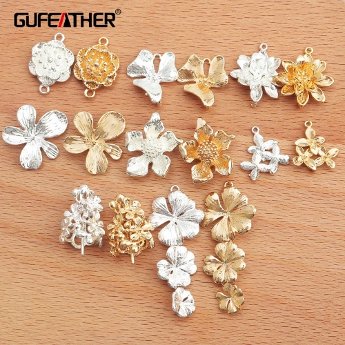 GUFEATHER M336,jewelry accessories,18k gold plated,0.3 microns,diy pendant,flower shape,diy earrings,jewelry making,10pcs/lot