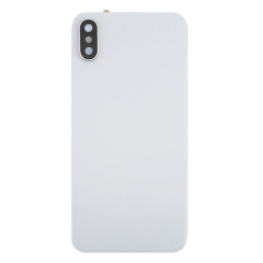 For iPhone X Battery Cover Glass With Camera Lens - White