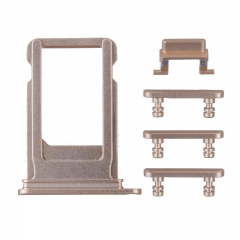 For iPhone 7 Plus 5 in 1 Sim Card Tray With Side Buttons - Gold