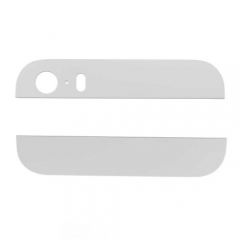 For iPhone 5S Back Housing Top/Bottom Glass Pieces - White