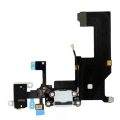For iPhone 5 Dock Connector Charging Port And Headphone Jack Flex Cable - White (821-1417-08)