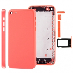 For iPhone 5C Back Cover Battery Housing With Side Buttons and SIM Tray - Pink