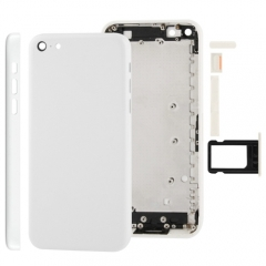 For iPhone 5C Back Cover Battery Housing With Side Buttons and SIM Tray - White