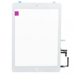 For iPad Air / 5Gen Touch Screen Digitizer With Adhesive And Home Button Assembly Original- White