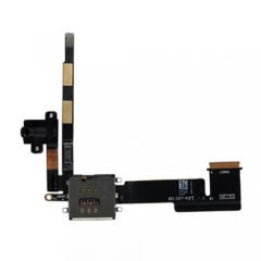 For iPad 2 3G Headphone Audio Jack Flex Cable with Micro SIM Slot - Black