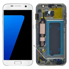 For Samsung Galaxy S7 G930 G930F LCD Screen Display Assembly With Frame Assembly - White