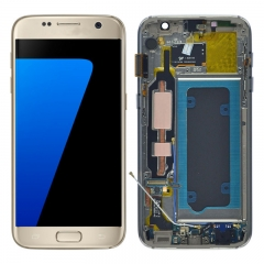 For Samsung Galaxy S7 G930 G930F LCD Screen Display With Frame  Assembly - Gold