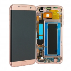 For Samsung Galaxy S7 Edge G935 G935F LCD Screen Display Assembly With Frame - Rose Pink