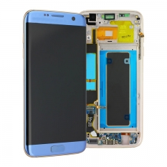 For Samsung Galaxy S7 Edge G935 G935F LCD Screen Display Assembly With Frame - Coral Blue