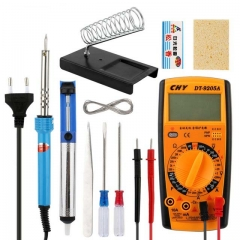 Welding Tool Set Multimeter 30W Soldering Iron Set Suction Pump Stand Hoder Screwdriver Tweezers Rosin Cleaner Test Wire