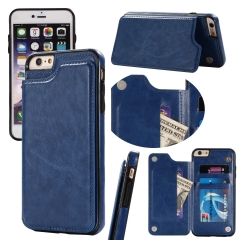 For iPhone Car Holder Double Button Leather Case With Car Slot