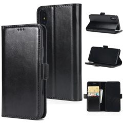 For iPhone Double Folding Mobile Phone Case Leather Case With Car Slot