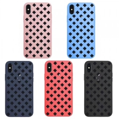 For iPhone 6 6S 7 8 8 Plus X Woven Pattern Plastic Case Cover