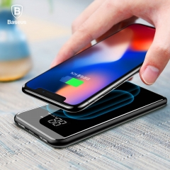 Baseus 8000mAh QI Wireless Charger 2A Dual USB Power Bank With LCD Display