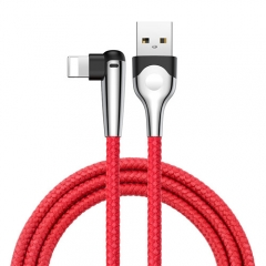 Baseus 90 Degree iPhone USB Data Cable Led Light Mobile Games Cable