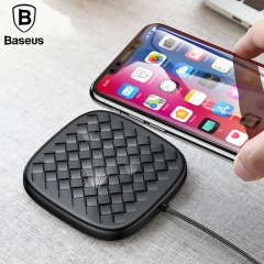 Baseus Luxury Grid Pattern Wireless Charger Ultra Thin TPU QI Wireless Charger 10W Fast Wireless Charging Pad