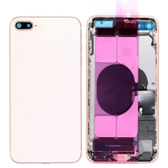For iPhone 8 Plus Back Housing Cover With Side Buttons & Card Tray Full Assembly - Gold