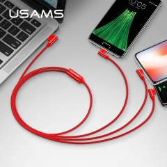 For iPhone iPad iPod Right Angle 3 in 1 USB Cable