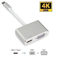 2in1 USB Type C to 4K HDMI VGA, USB 3.1 Type C USB-C to VGA HDMI Video Converters Adapter